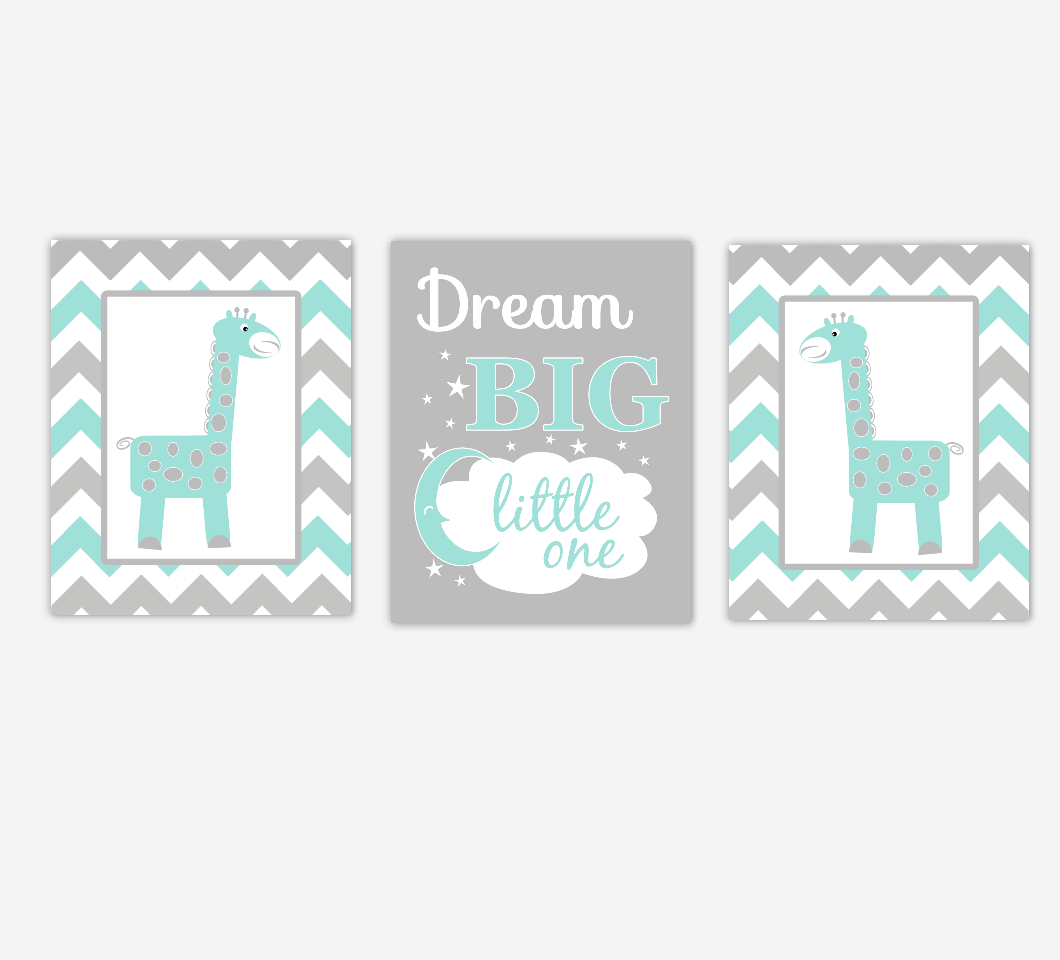 Giraffe Baby Nursery Wall Art Teal Gray Safari Jungle Dream Big Gender Neutral Children Artwork Baby Nursery Decor SET OF 3 UNFRAMED PRINTS
