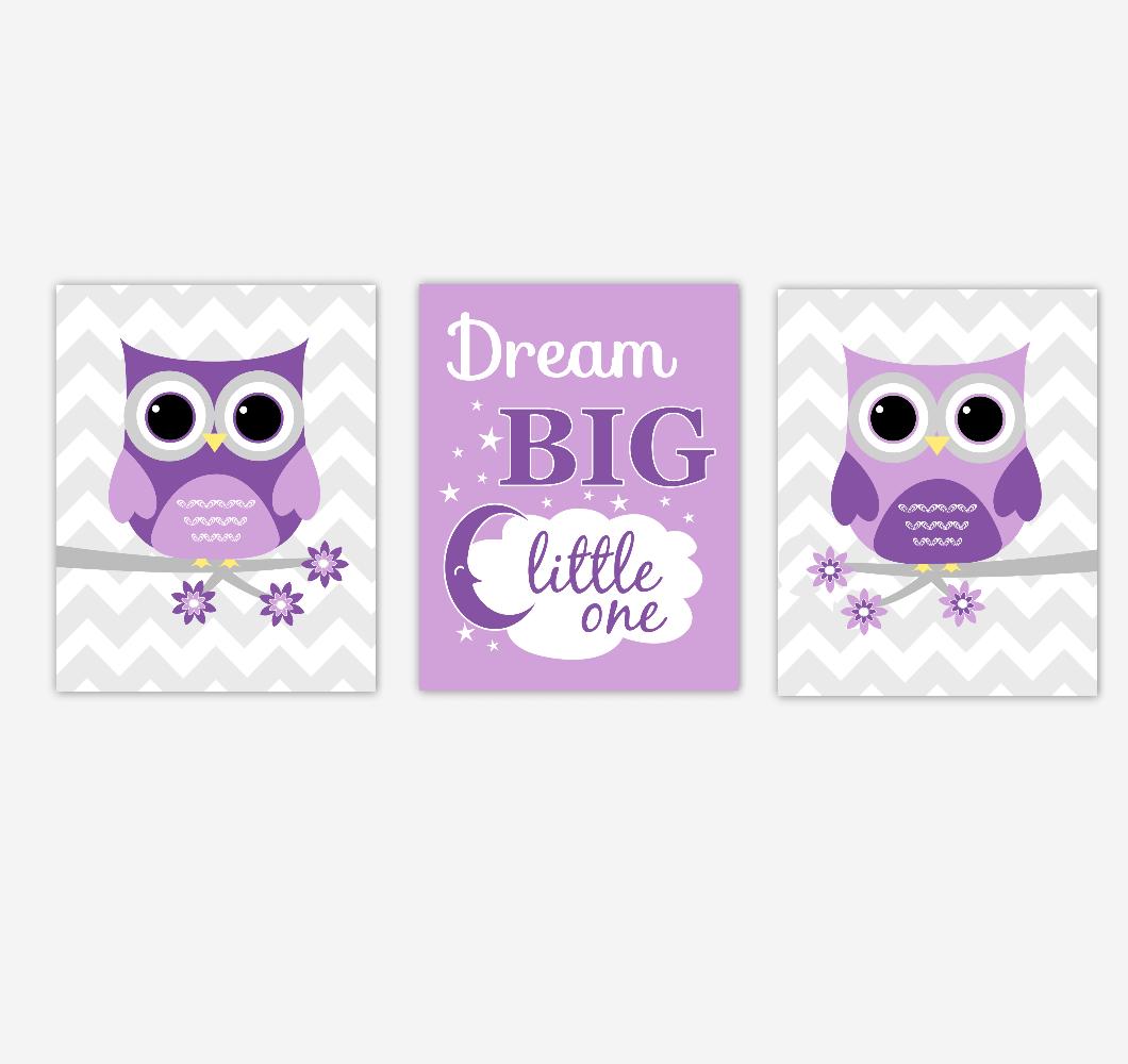 Owls Baby Girl Nursery Wall Art Purple Dream Big Baby Nursery Decor Children Artwork Prints SET OF 3 UNFRAMED PRINTS