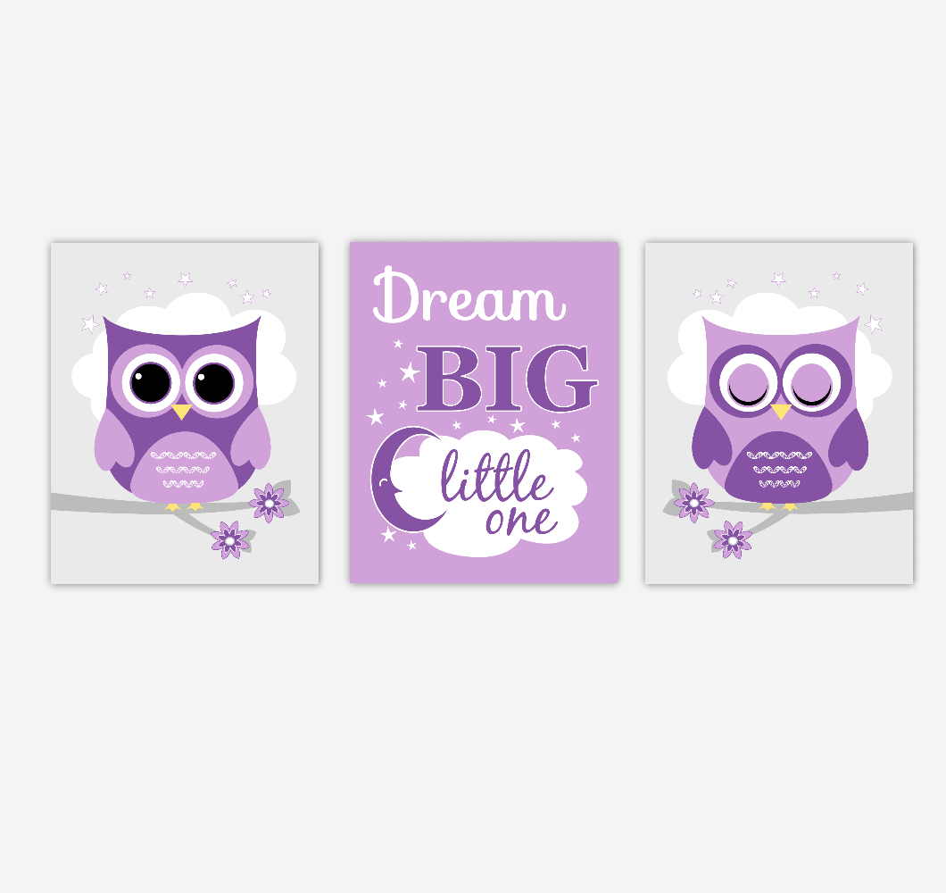 Owls Baby Girl Nursery Wall Art Purple Dream Big Baby Nursery Decor Children Artwork Prints SET OF 3 UNFRAMED PRINTS