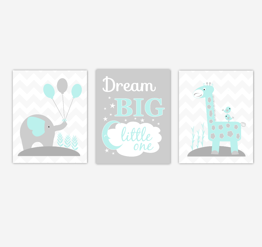 Baby Nursery Wall Art Teal Aqua Elephant Giraffe Jungle Safari Dream Big Baby Nursery Decor Children Artwork Prints SET OF 3 UNFRAMED PRINTS