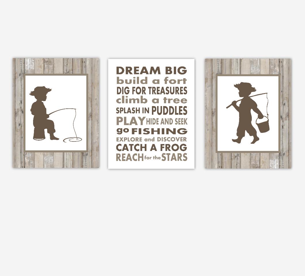 Fishing Baby Boy Nursery Wall Art Brown Rustic Farmhouse Boy Bedroom Remember Dream Big Artwork Prints  SET OF 3 UNFRAMED PRINTS