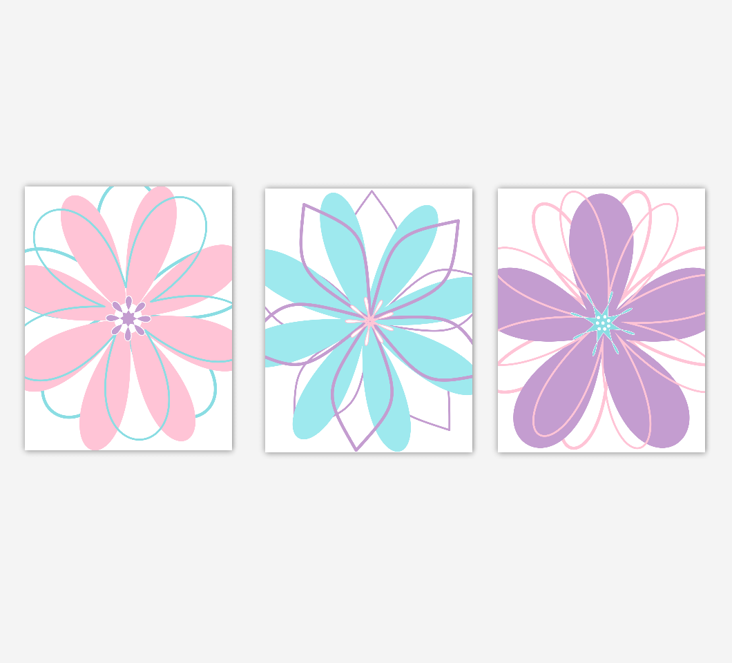 Baby Girl Nursery Art Pink Purple Teal Modern Flowers Floral Girl Bedroom Prints Artwork Home Decor  SET OF 3 UNFRAMED PRINTS
