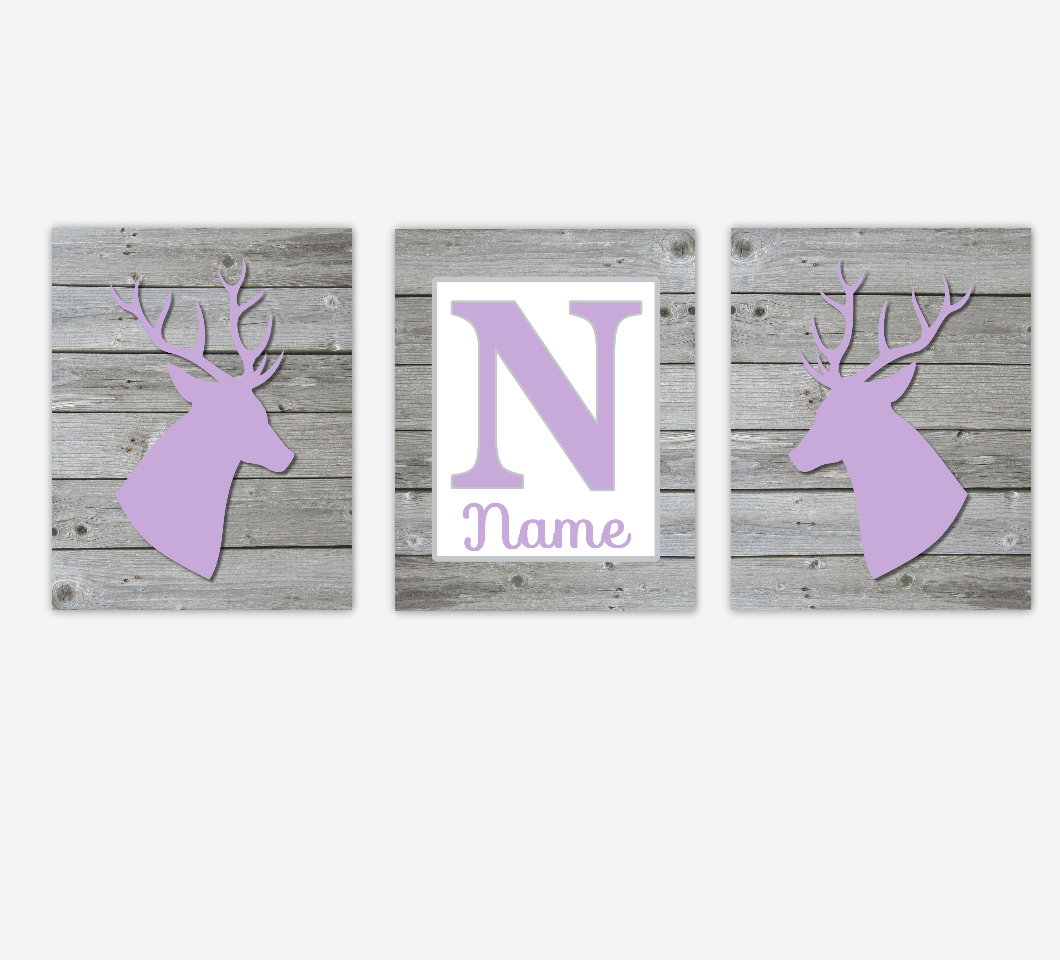 Deer Baby Girl Nursery Art Purple Rustic Farmhouse Antlers Personalized Prints Baby Nursery Decor SET OF 3 UNFRAMED PRINTS