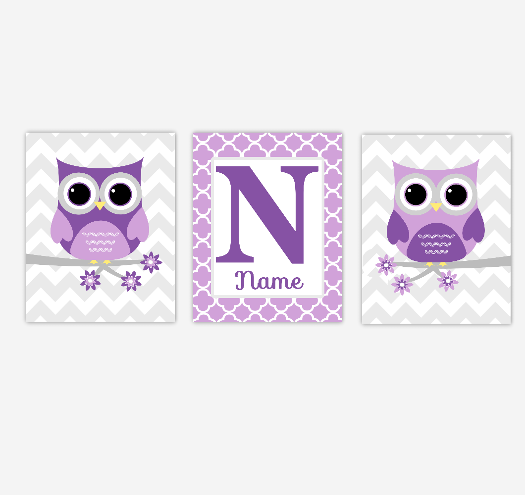 Owls Baby Girl Nursery Art Purple Personalized Prints Baby Nursery Decor Children Artwork SET OF 3 UNFRAMED PRINTS