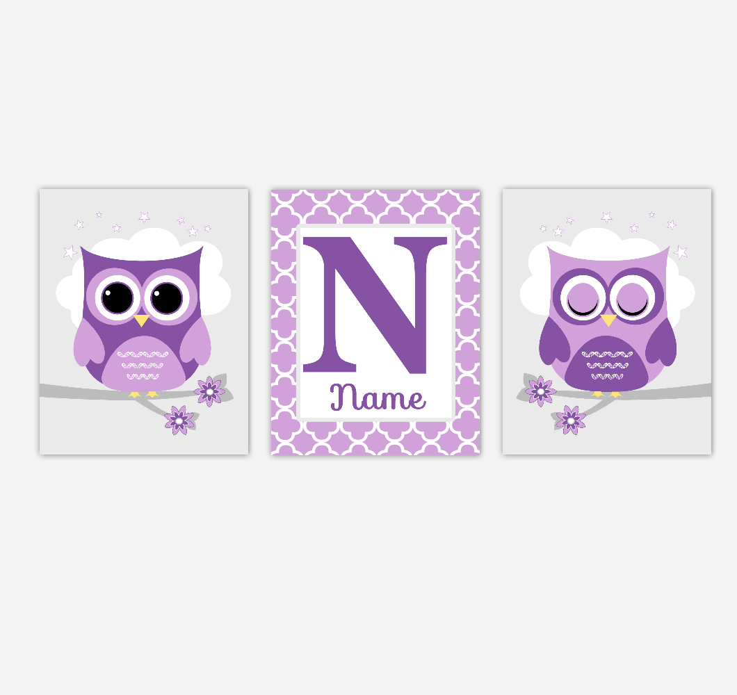 Owls Baby Girl Nursery Art Purple Personalized Prints Baby Nursery Decor Children Artwork SET OF 3 UNFRAMED PRINTS