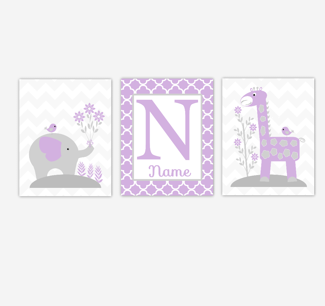 Baby Girl Nursery Art Elephant Giraffe Purple Gray Personalized Jungle Safari Prints Baby Nursery Decor Children Artwork  SET OF 3 UNFRAMED PRINTS