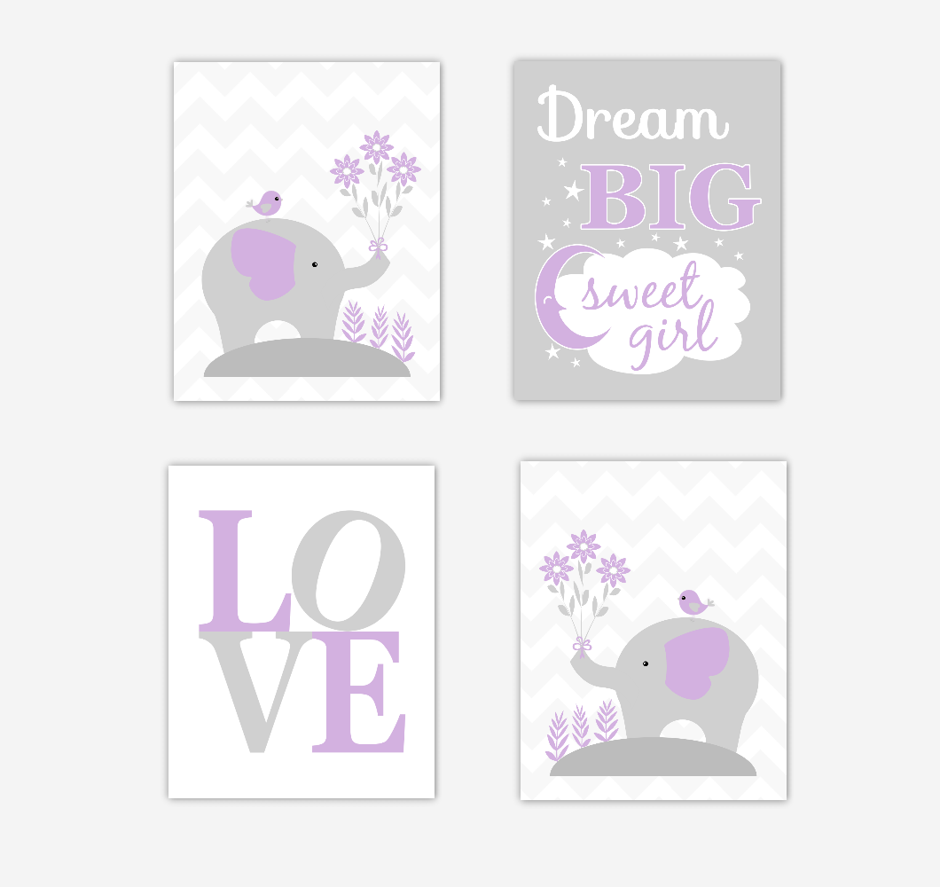 Baby Girl Nursery Wall Art Elephants Purple Gray Dream Big Sweet Girl Jungle Safari Zoo Animals Baby Nursery Decor SET OF 4 UNFRAMED PRINTS