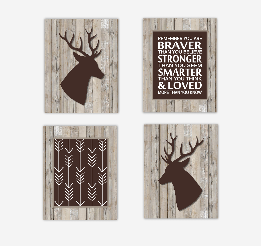 Deer Baby Boy Nursery Wall Art Brown Rustic Farmhouse Style Arrows Remember You Are Braver Animals Baby Nursery Decor SET OF 4 UNFRAMED PRINTS
