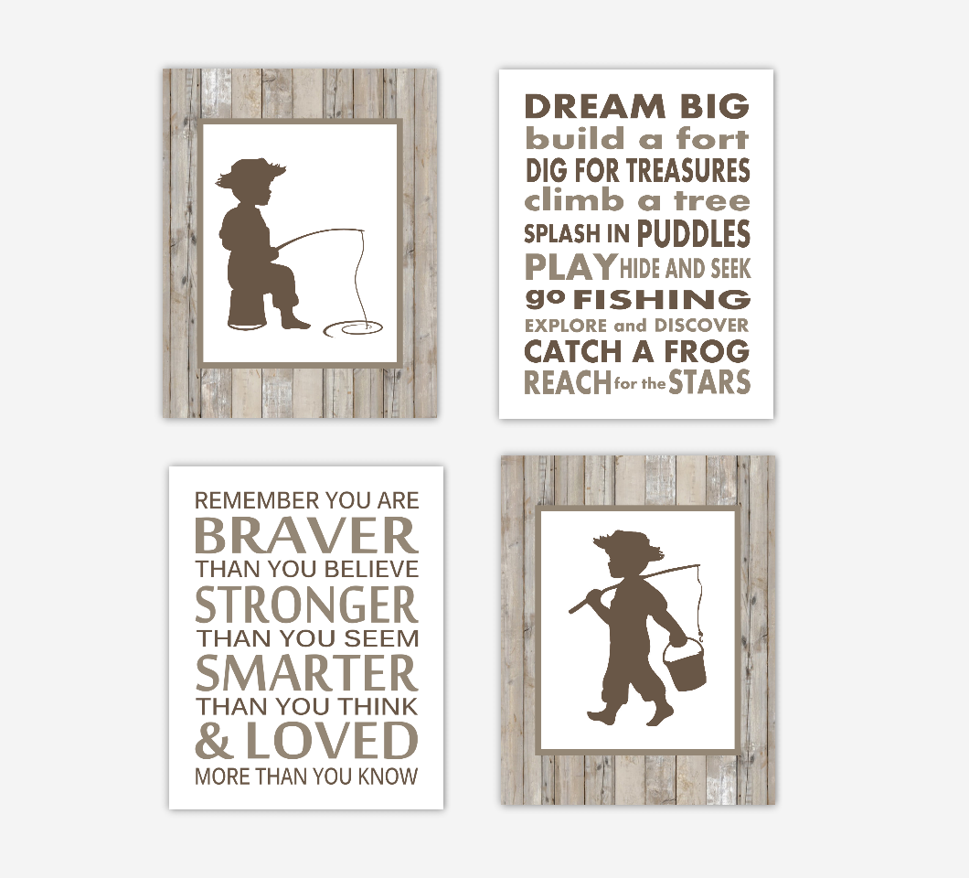 Fishing Baby Boy Nursery Wall Art Brown Rustic Farmhouse Style Arrows Remember You Are Braver Animals Baby Nursery Decor SET OF 4 UNFRAMED PRINTS