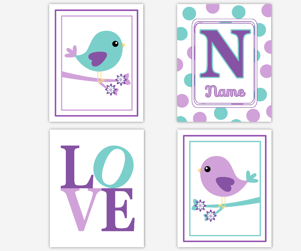 Baby Girl Nursery Wall Art Purple Lavender Teal Personalized Birds Girl Room Wall Decor Baby Nursery Bird Decor LOVE Baby Girl Nursery Decor SET OF 4 UNFRAMED PRINTS