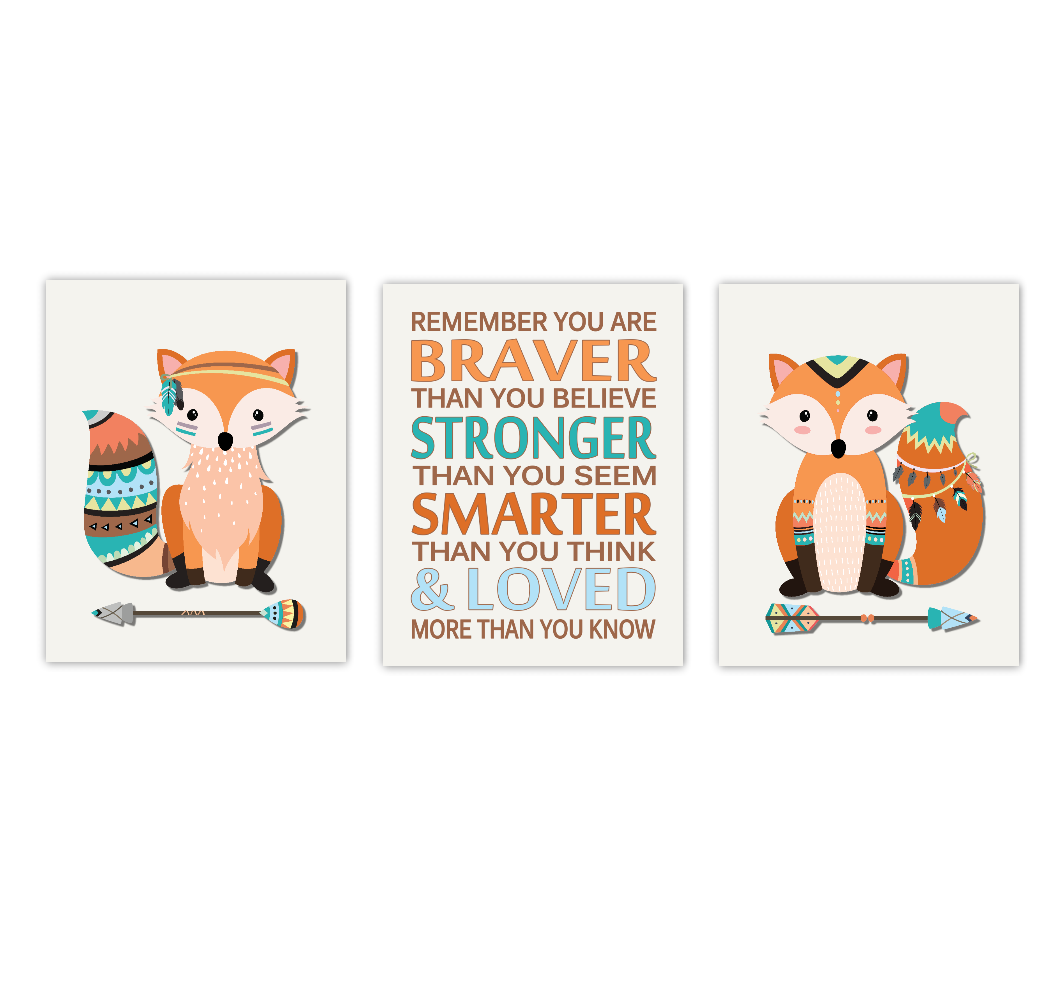 Fox Baby Boy Nursery Art Woodland Animals Baby Nursery Decor Remember You Are Braver Tribal Art SET OF 3 UNFRAMED PRINTS