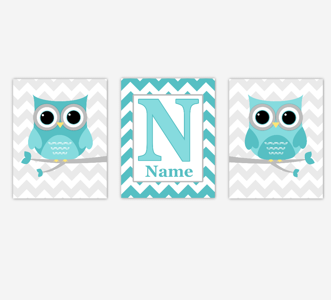 Teal Owl Baby Nursery Wall Art Baby Boy Girl Nursery Decor Personalized Prints SET OF 3 UNFRAMED PRINTS