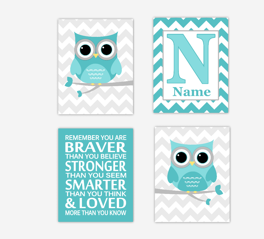 Teal Baby Nursery Wall Art Aqua Gray Owls Dream Big Baby Nursery Decor Personalized Print Children Artwork SET OF 4 UNFRAMED PRINTS