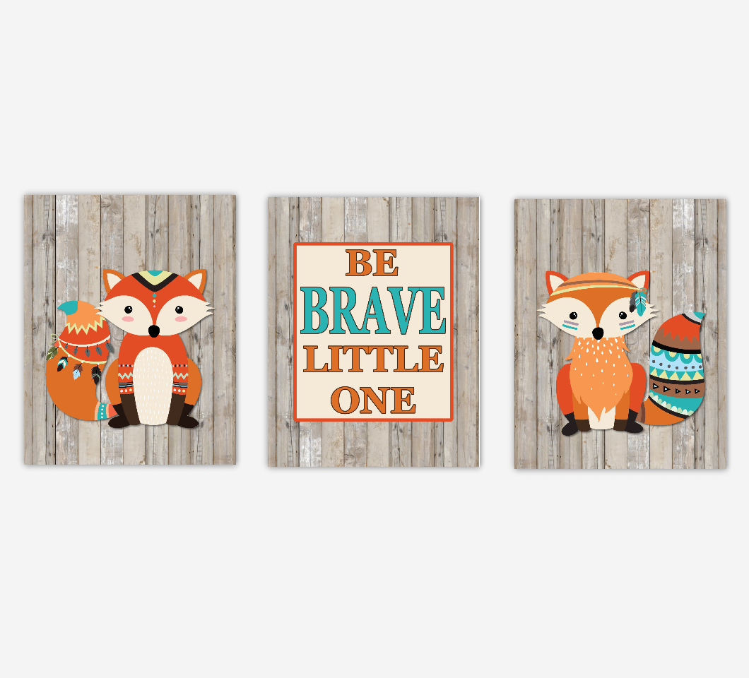 Tribal Fox Baby Boy Nursery Art Prints Rustic Wood Farmhouse Style Be Brave Little One Baby Nursery Decor New Baby Shower Gift SET OF 3 UNFRAMED PRINTS