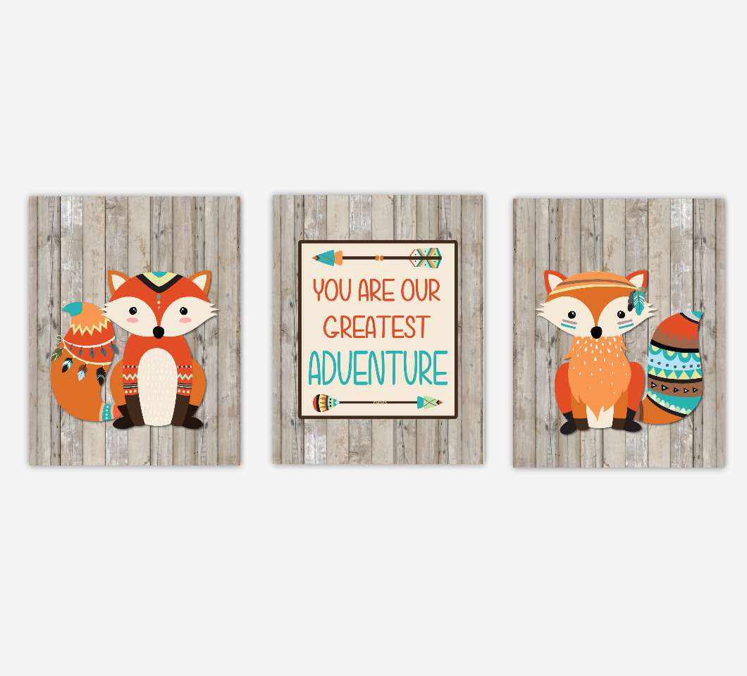Tribal Fox Baby Boy Nursery Art Prints Rustic Wood Farmhouse Style You Are Our Greatest Adventure Baby Nursery Decor New Baby Shower Gift SET OF 3 UNFRAMED PRINTS