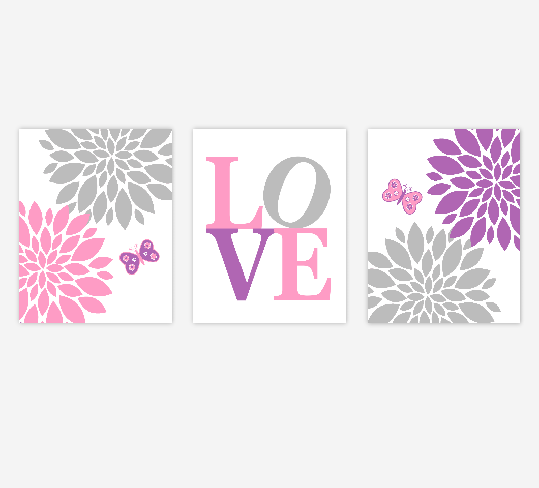 Baby Girl Nursery Art Pink Purple Flowers Mum Dahlia Butterfly Girl Bedroom Wall Decor SET OF 3 UNFRAMED PRINTS