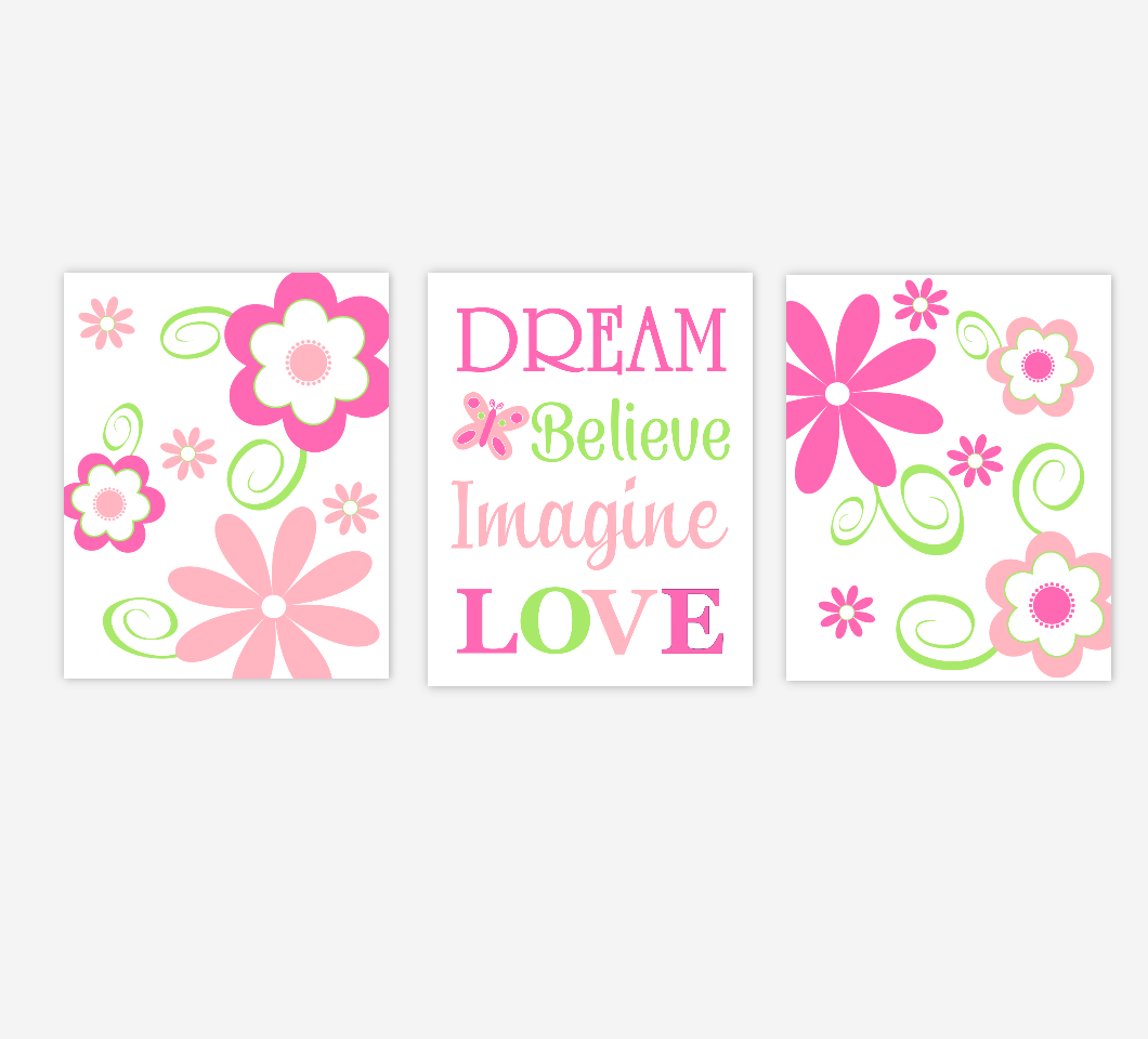 Baby Girl Nursery Art Pink Lime Green Flowers Floral Girl Bedroom Wall Decor Baby Nursery Decor Prints SET OF 3 UNFRAMED PRINTS
