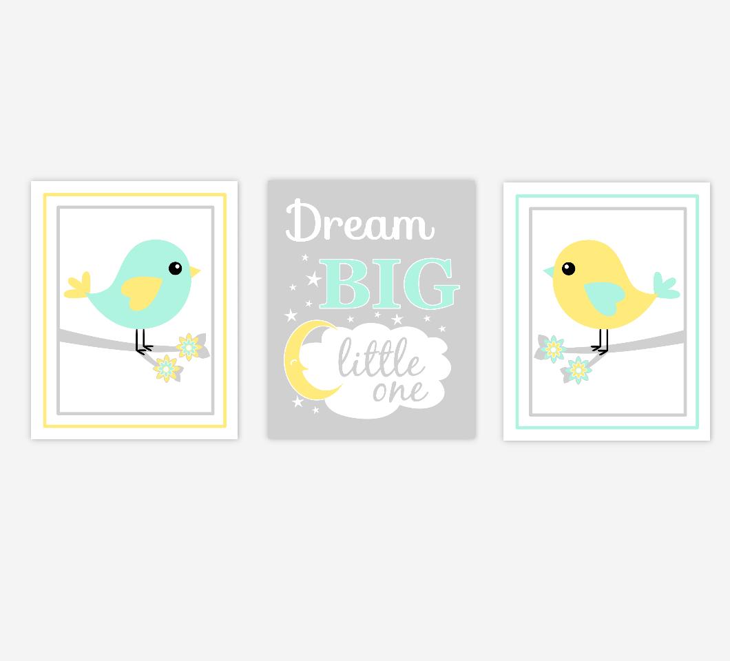 Baby Girl Nursery Art Yellow Mint Green Birds Dream Big Little One Moon Stars Baby Nursery Decor SET OF 3 UNFRAMED PRINTS