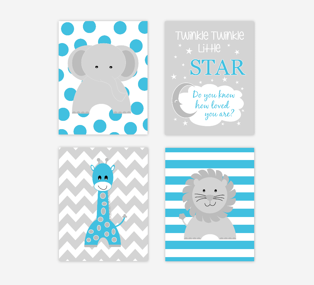 Baby Boy Nursery Wall Art Blue Gray Elephant Giraffe Lion Twinkle Little Star Baby Nursery Decor Jungle Safari Zoo Animals SET OF 4 UNFRAMED PRINTS