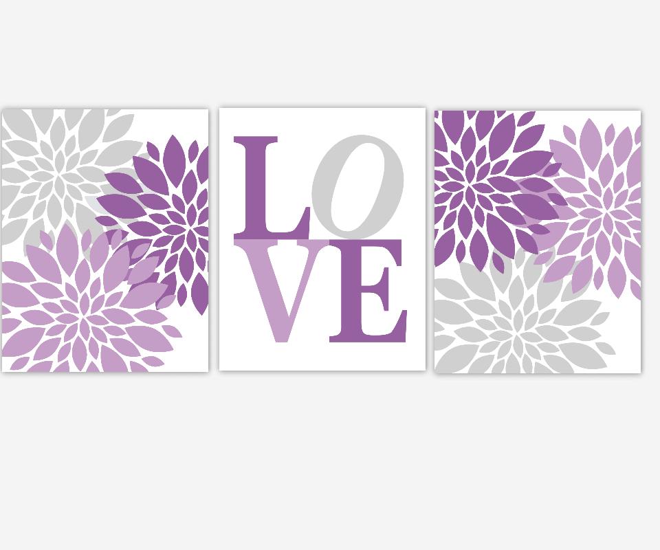 PURPLE Baby Nursery Wall Art Lavender Gray Purple Flower Bursts Dahlias Floral Prints Flower Art Girls Room Wall Decor Flower Home Decor Prints Baby Girl Nursery Decor Prints for Girls