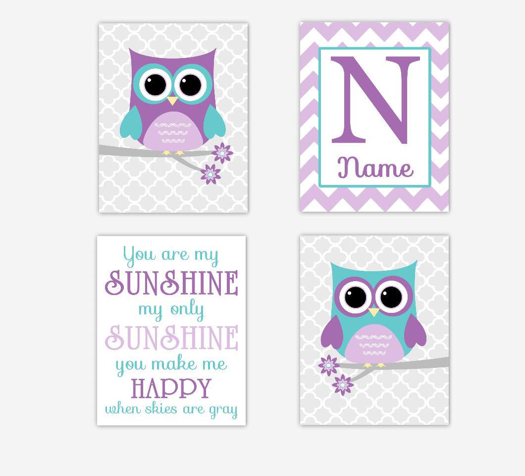 Baby Girl Nursery Art Purple Lavender Teal Owls Owl You Are My Sunshine Personalize Name Monogram Chevron Quatrefoil Baby Nursery Decor
