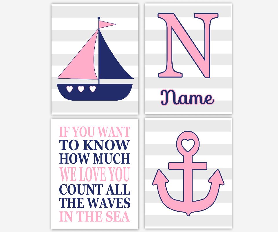 Nautical Baby Girl Nursery Wall Art Pink Blue Gray Grey Sailboat Anchor Love Waves Sea Personalized Name Art Nautical Nursery Decor SET OF 4 UNFRAMED PRINTS