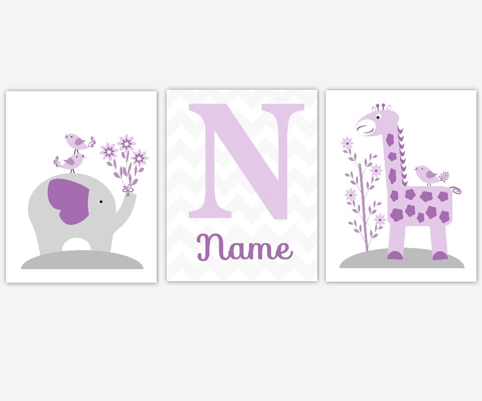 Personalized Baby Nursery Wall Art Gray Lavender Purple Grey Elephant Giraffe Safari Jungle Animal Prints for Baby Girl Nursery Girls Room Bedroom Prints Home Decor Monogram SET OF 3 UNFRAMED PRINTS
