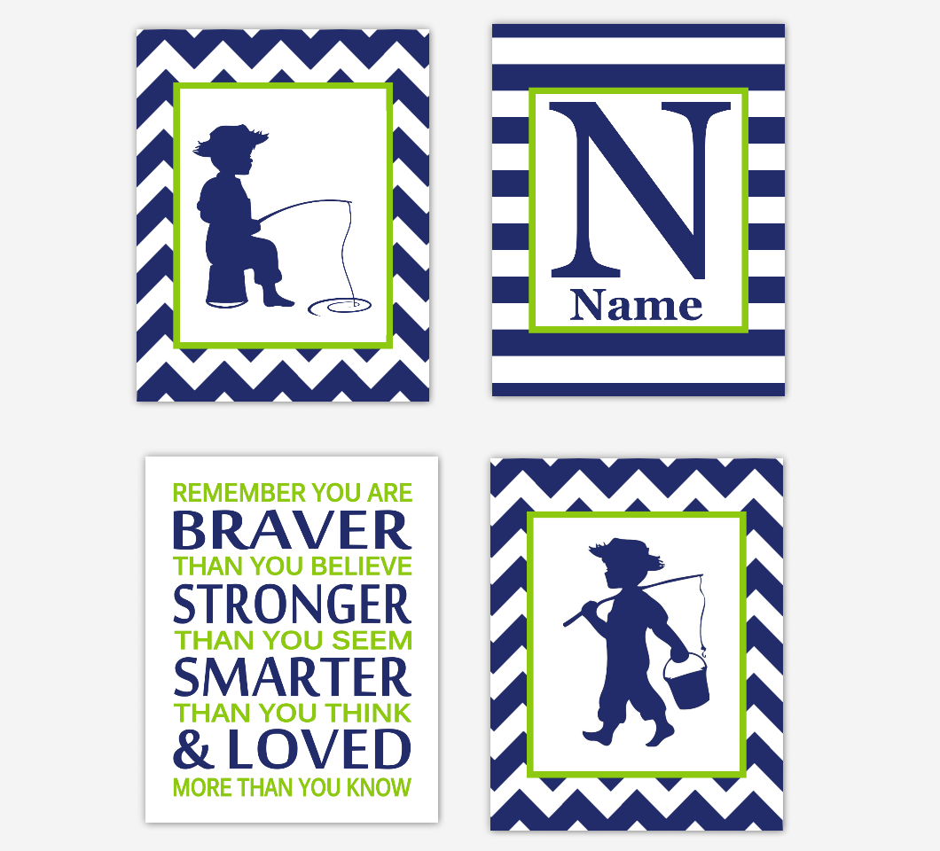 Navy Blue Fishing Baby Boy Nursery Wall Art Personalized Remember You Are Braver Toddler Boy Bedroom Baby Nursery Decor SET OF 4 UNFRAMED PRINTS
