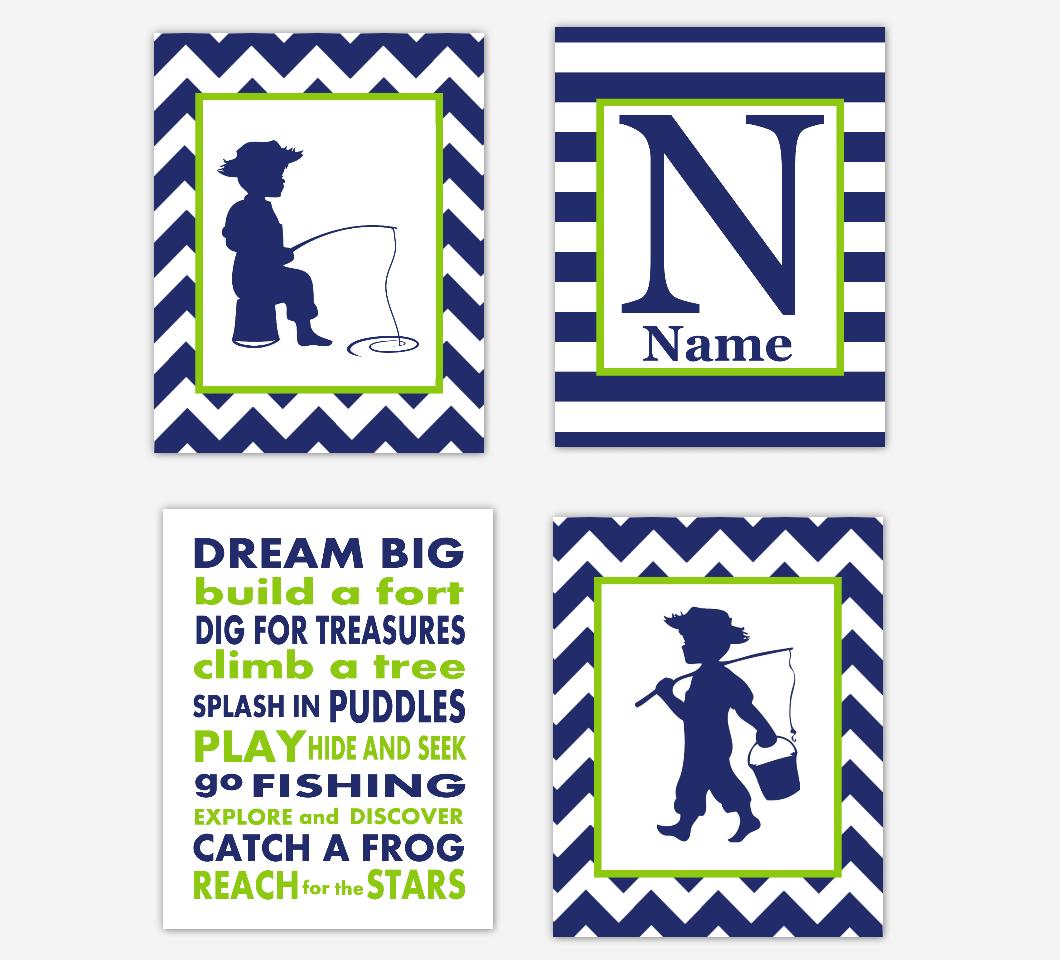 Navy Blue Fishing Baby Boy Nursery Wall Art Personalized Toddler Boy Bedroom Baby Nursery Decor SET OF 4 UNFRAMED PRINTS