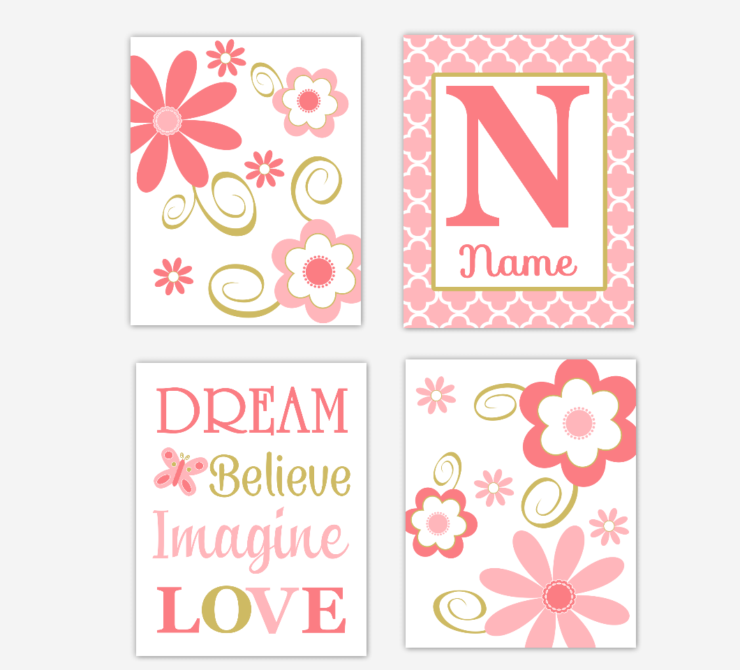 Coral Gold Baby Girl Nursery Wall Art Flowers Personalized Dream Believe Imagine Love Toddler Girl Bedroom Prints SET OF 4 UNFRAMED PRINTS