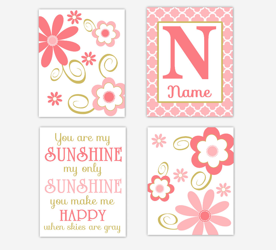 Coral Gold Baby Girl Nursery Wall Art Flowers Personalized You Are My Sunshine Toddler Girl Bedroom Prints SET OF 4 UNFRAMED PRINTS
