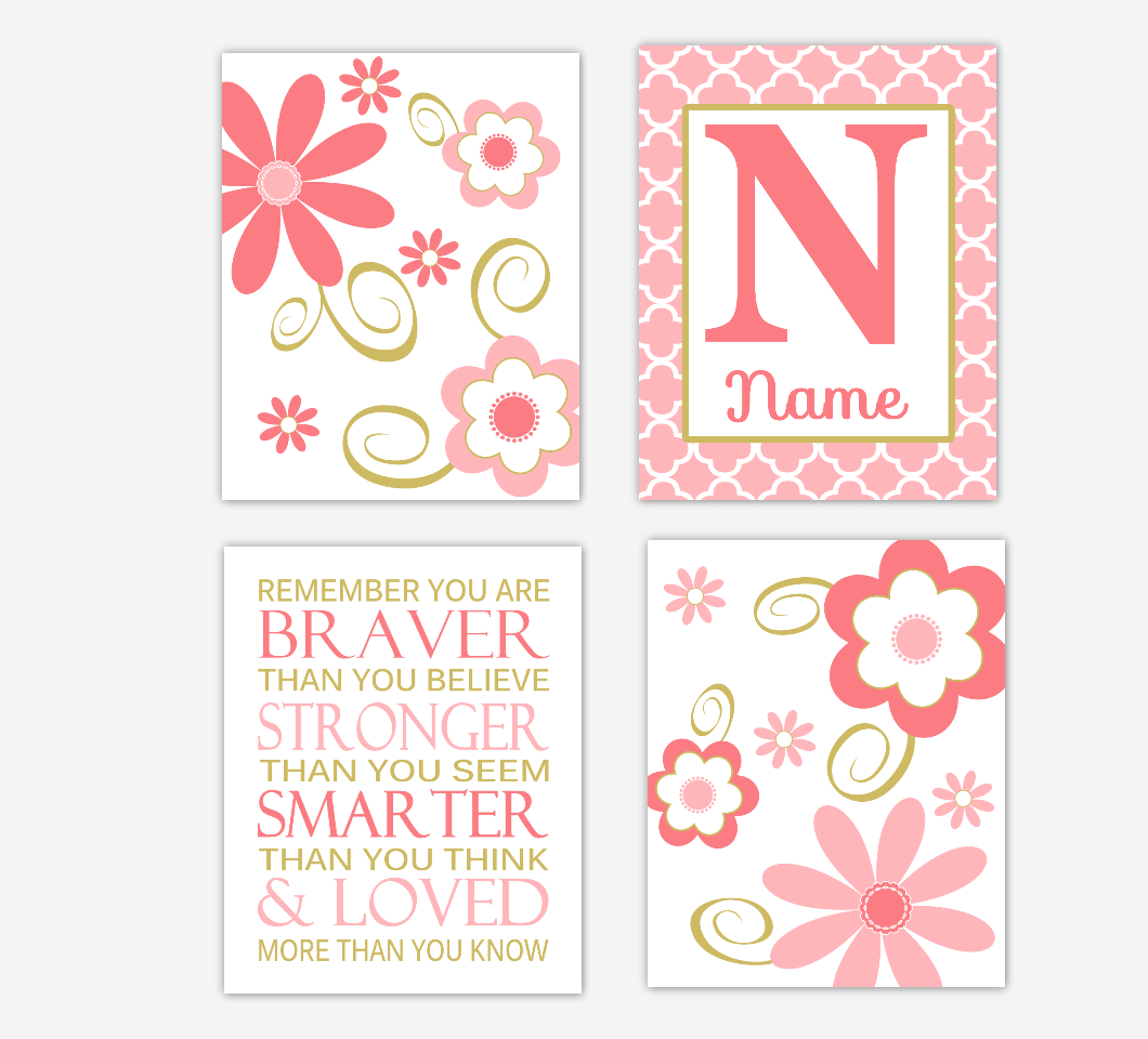 Coral Gold Baby Girl Nursery Wall Art Flowers Personalized Remember You Are Braver Toddler Girl Bedroom Prints SET OF 4 UNFRAMED PRINTS