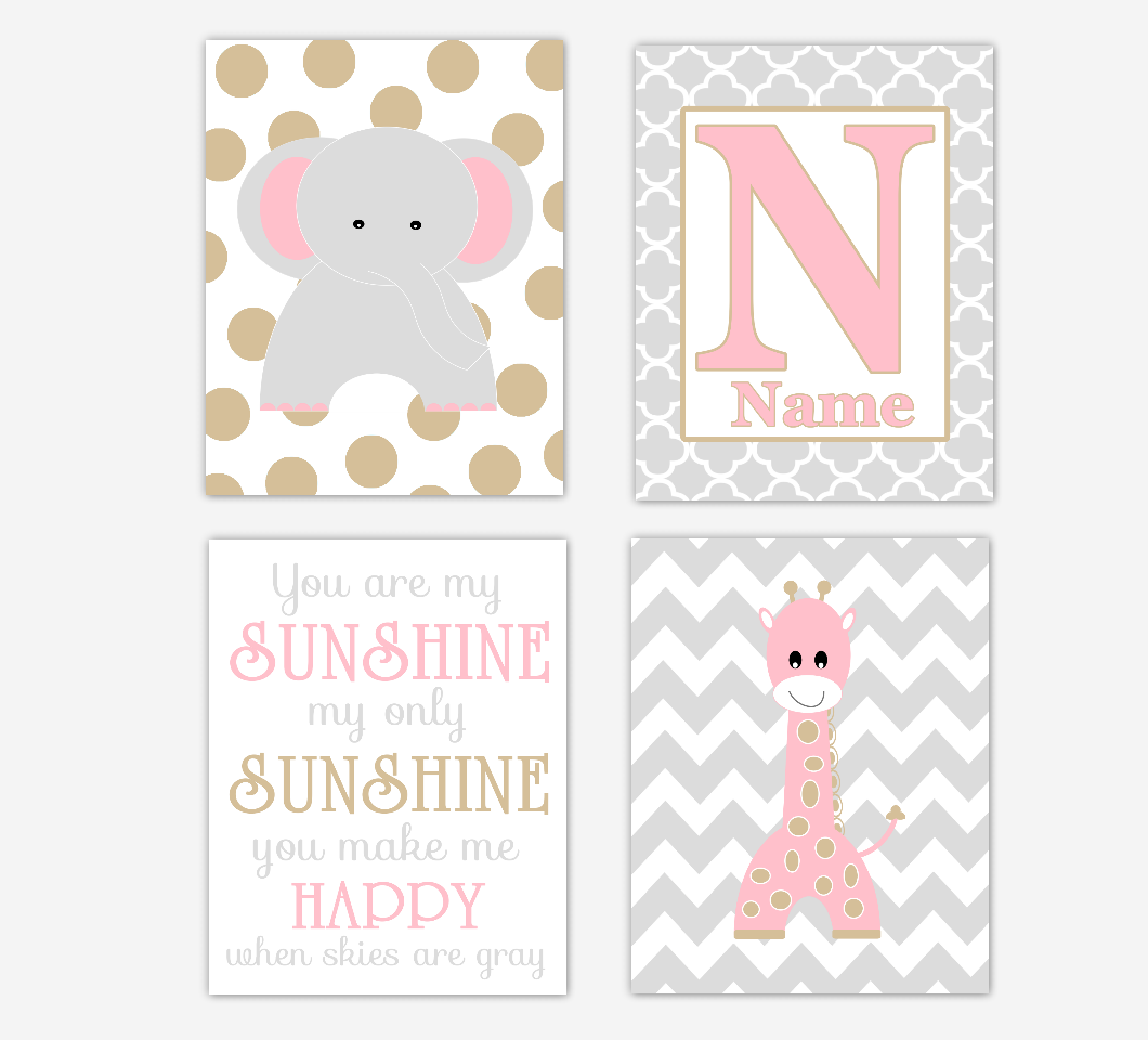 Pink Gold Baby Girl Nursery Art Elephant Giraffe You Are My Sunshine Personalized Safari Jungle Zoo Animal Baby Nursery Decor SET OF 4 UNFRAMED PRINTS