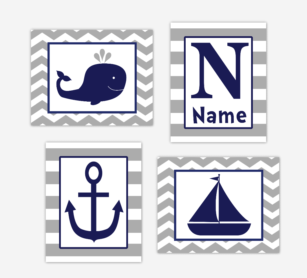 Nautical Baby Boy Nursery Art Navy Blue Gray Whale Anchor Sailboat Baby Nursery Decor SET OF 4 UNFRAMED PRINTS