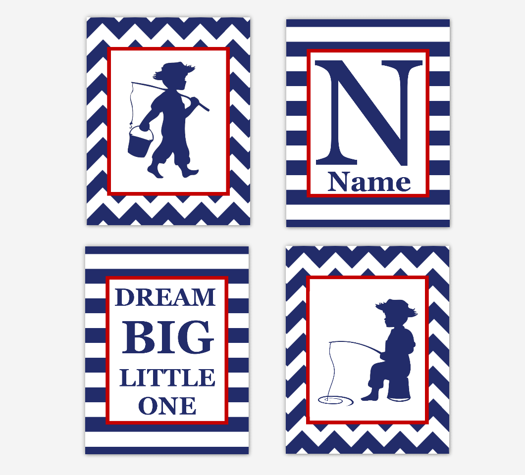 Fishing Baby Boy Nursery Art Navy Blue Red Personalized Dream Big Little One Baby Nursery Decor SET OF 4 UNFRAMED PRINTS