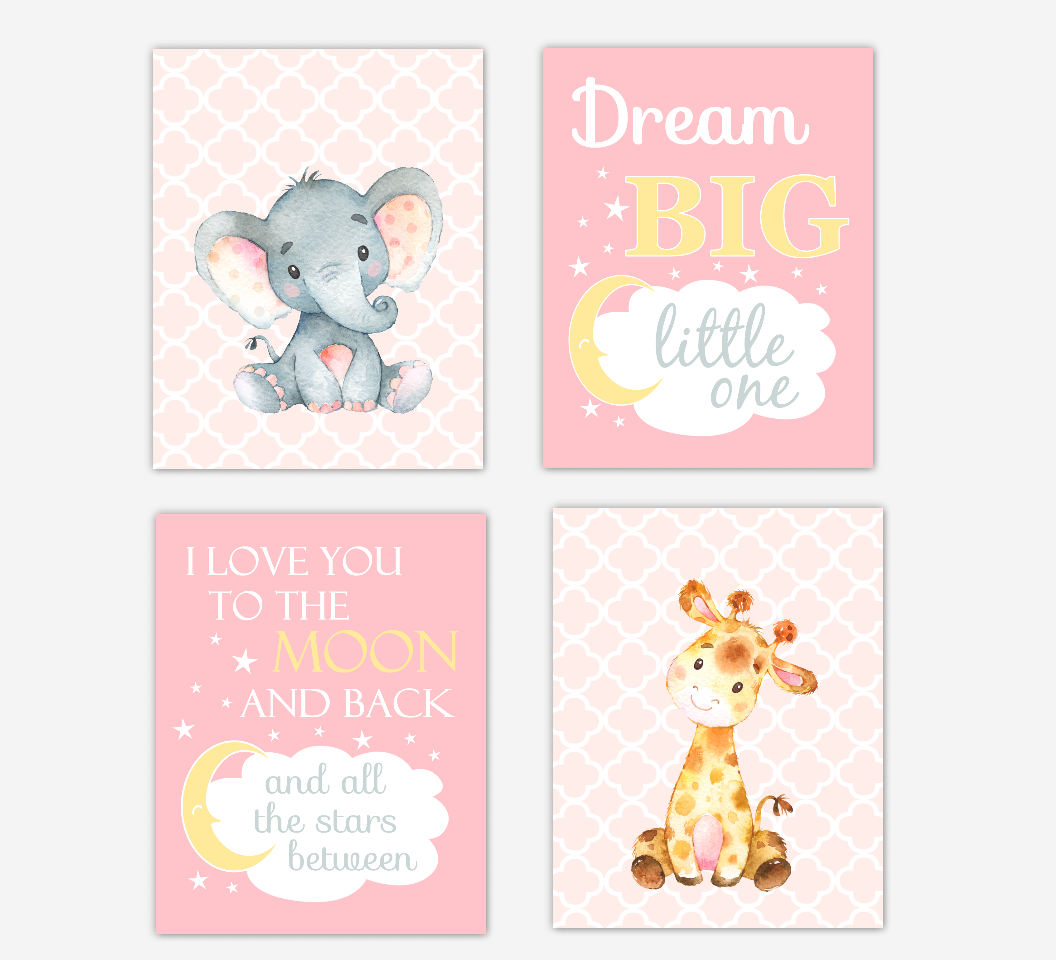 Pink Yellow Baby Girl Nursery Art Elephant Giraffe Safari Jungle Zoo Animal Prints Baby Nursery Decor SET OF 4 UNFRAMED PRINTS