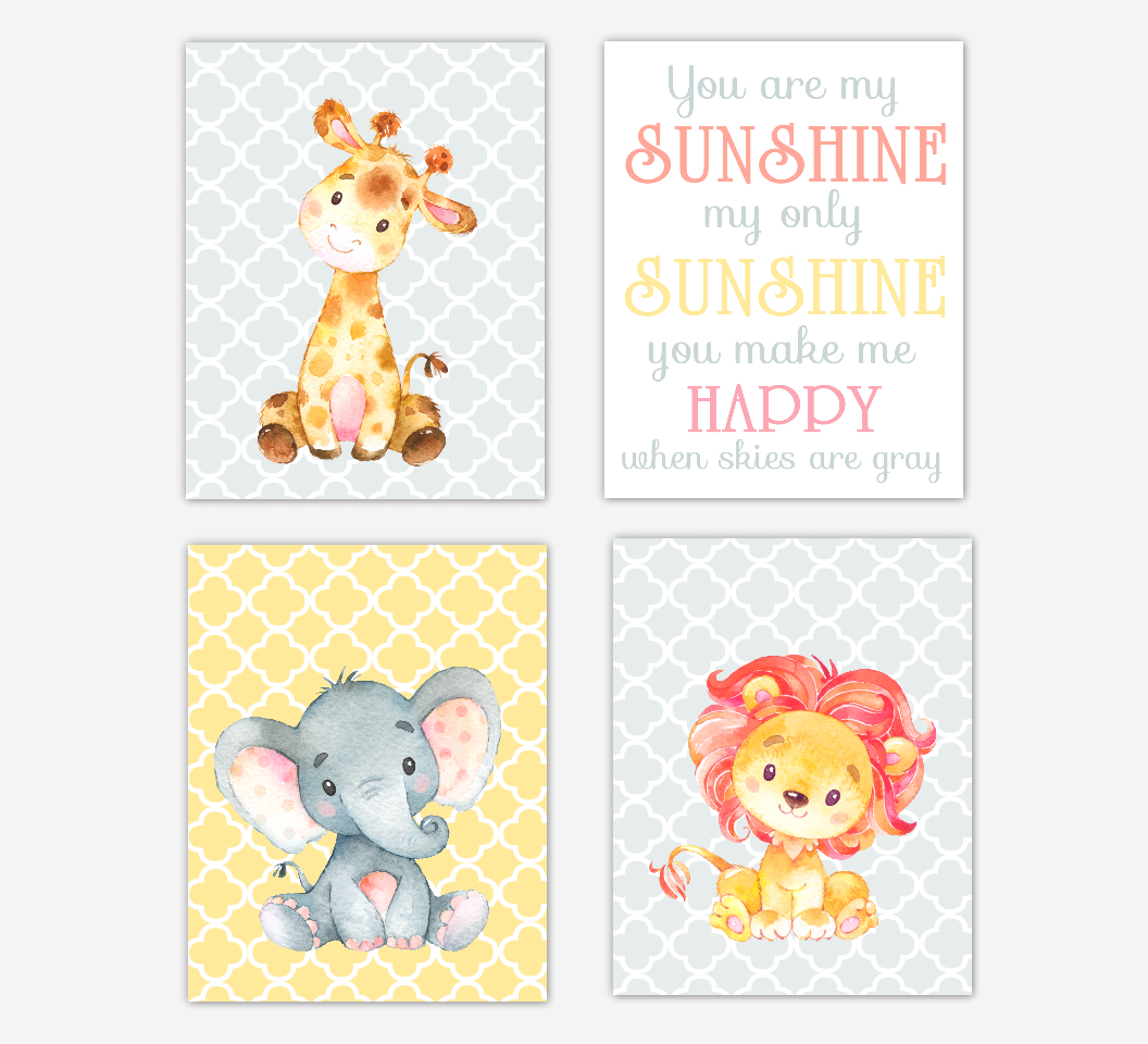Pink Baby Girl Nursery Art Yellow Coral Gray Elephant Giraffe Safari Jungle Zoo Animal Prints Baby Nursery Decor SET OF 4 UNFRAMED PRINTS  SET OF 4 UNFRAMED PRINTS