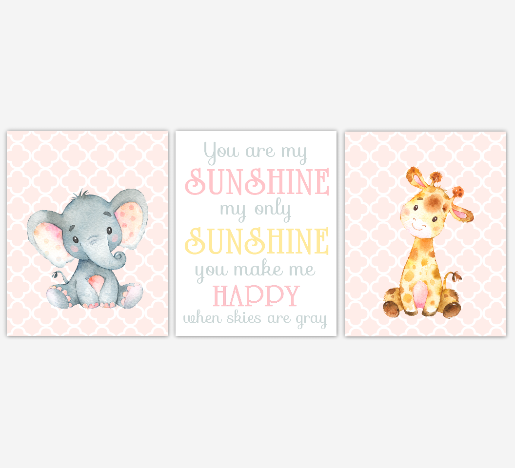 Baby Girl Nursery Art Elephant Giraffe  Safari Jungle Animals You Are My Sunshine Baby Nursery Decor SET OF 3 UNFRAMED PRINTS