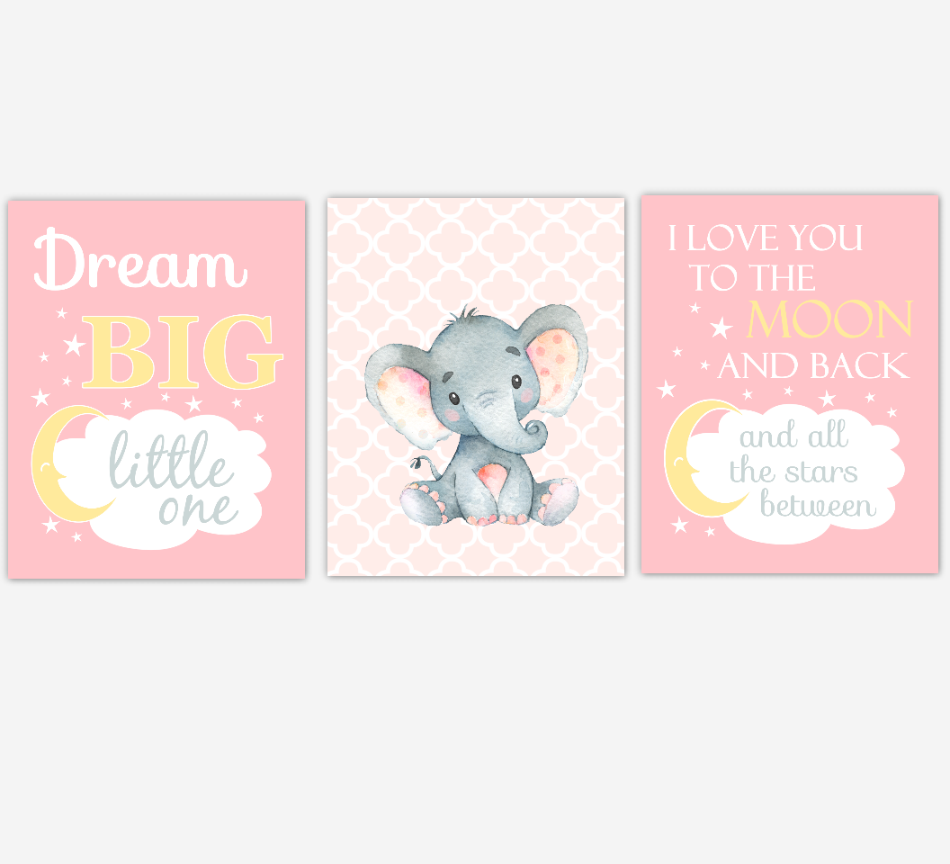 Baby Girl Nursery Art Elephant Safari Jungle Animals Dream Big Baby Nursery Decor SET OF 3 UNFRAMED PRINTS