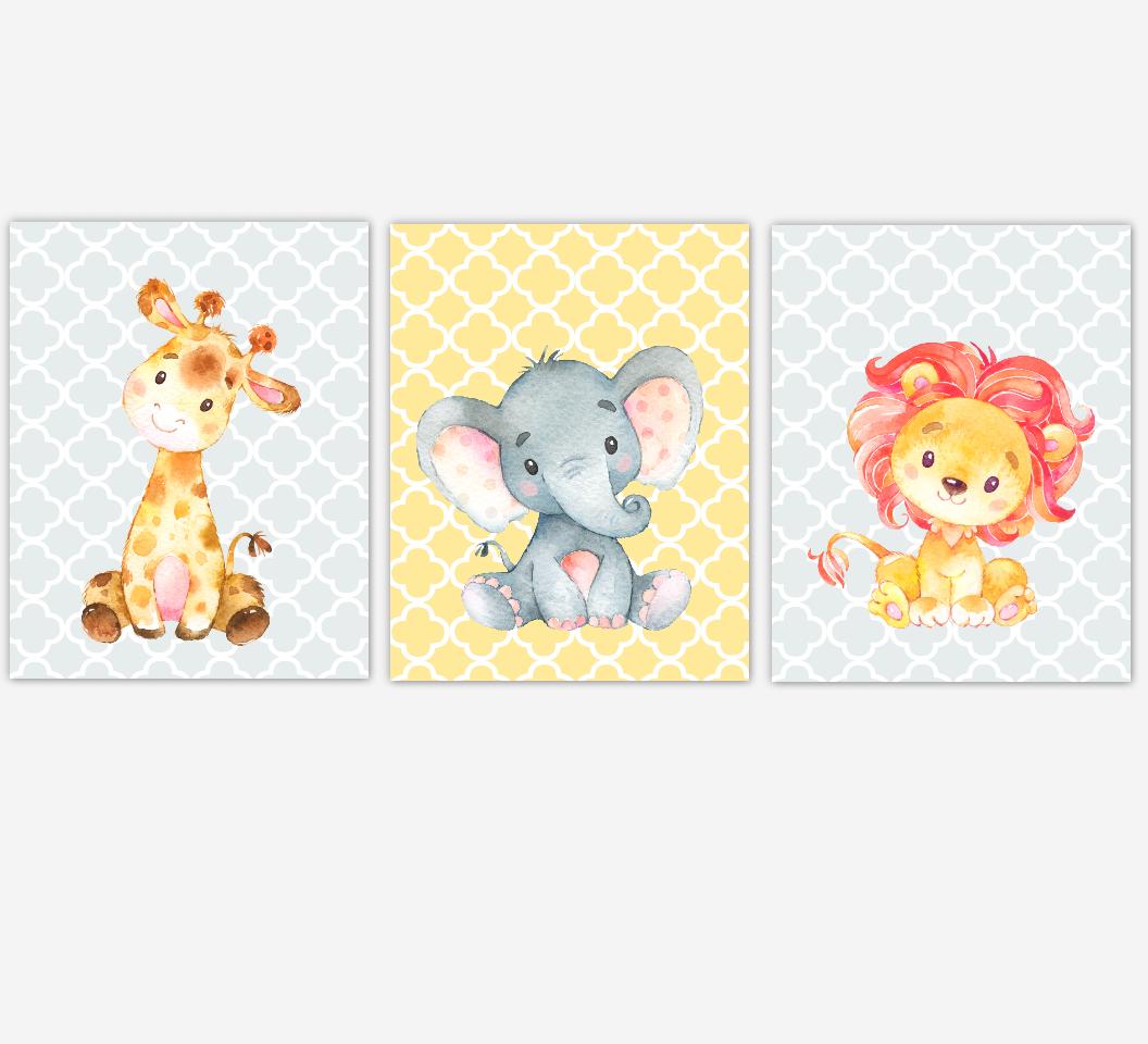 Baby Girl Nursery Art Yellow Pink Elephant Giraffe Safari Jungle Animals Baby Nursery Decor SET OF 3 UNFRAMED PRINTS