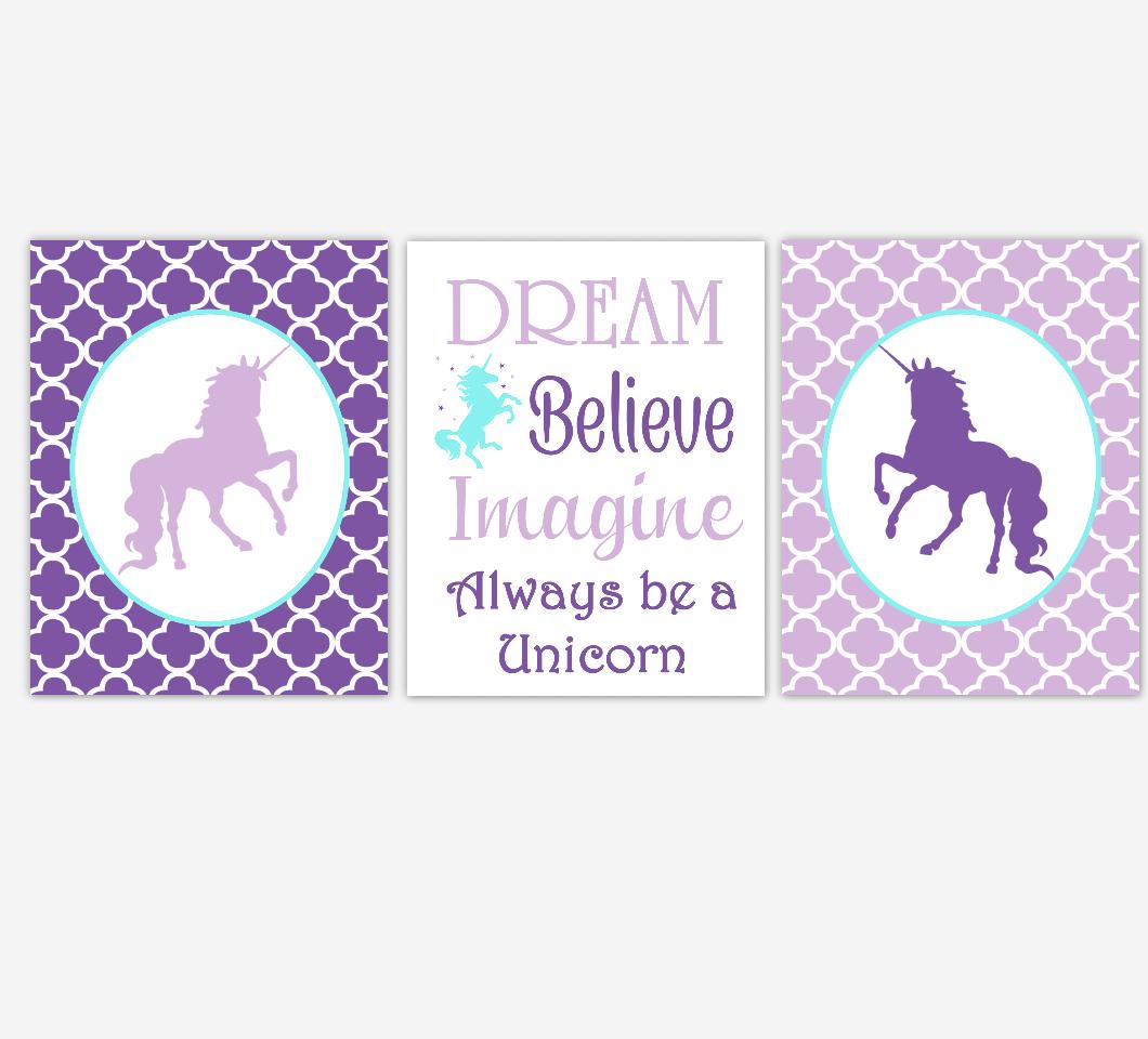 Unicorn Baby Girl Nursery Art Purple Aqua Teal Dream Believe Imagine Baby Nursery Decor Girl Bedroom Inspirational Quotes SET OF 3 UNFRAMED PRINTS