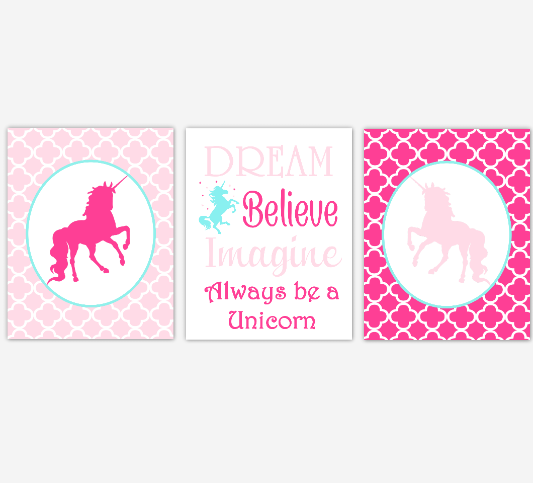 Unicorn Baby Girl Nursery Art Pink Aqua Teal Dream Believe Imagine Baby Nursery Decor Girl Bedroom Inspirational Quotes SET OF 3 UNFRAMED PRINTS