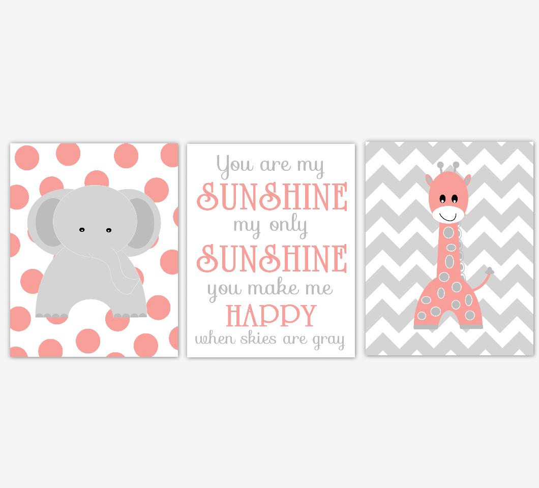 Coral Baby Girl Nursery Art Elephant Giraffe Safari Jungle Zoo Animal You Are My Sunshine Print Baby Nursery Decor SET OF 3 UNFRAMED PRINTS
