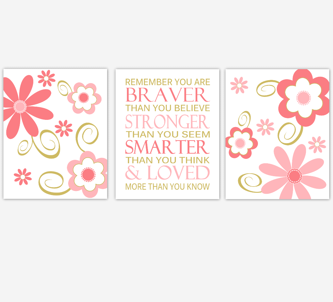 Coral Gold Baby Girl Nursery Art Flowers Floral Daisy Whimsical Baby Nursery Decor Remember You Are Braver Girls Bedroom Prints  SET OF 3 UNFRAMED PRINTS