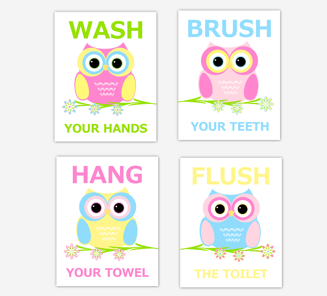 Owl Kids Bath Wall Art Pink Blue Yellow Wash Brush Hang Flush Children Bath Rules Artwork SET OF 4 UNFRAMED PRINTS