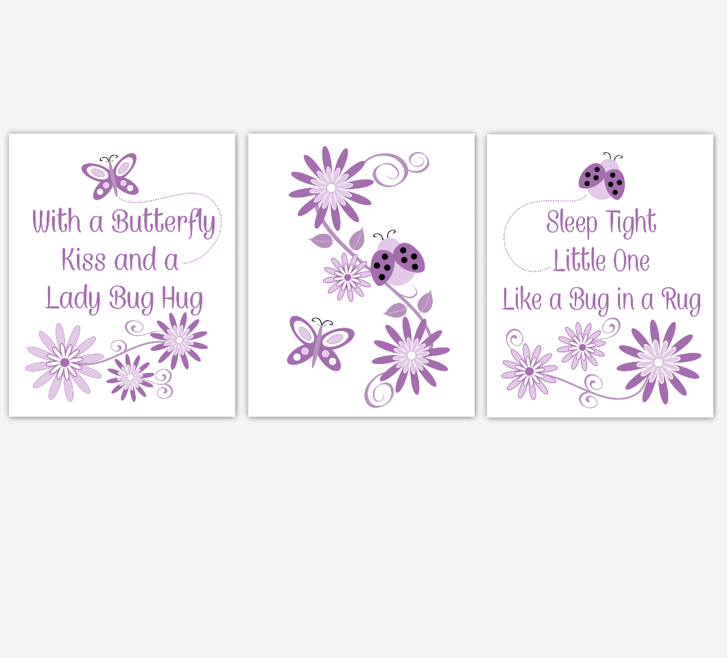 Purple Baby Girl Nursery Wall Art Purple Lavender Ladybug Butterfly Ladybugs Butterflies Flowers Quotes for Baby Girls Room Decor Prints SET OF 3 UNFRAMED PRINTS