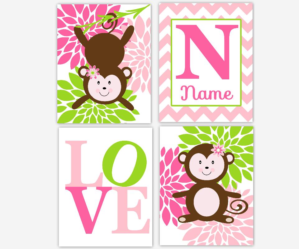 Monkey Baby Girl Nursery Wall Art Pink Lime Green Flower Burst Personalize Name Art Monkey Nursery Decor Baby Nursery Decor SET OF 4 UNFRAMED PRINTS