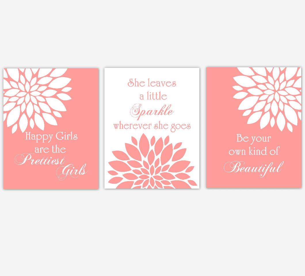 Coral Dahlia Mum Flower Burst Audrey Hepburn Quotes Prettiest Sparkle Beautiful Floral Wall Decor Girl Bedroom Prints Baby Nursery Decor SET OF 3 UNFRAMED PRINTS