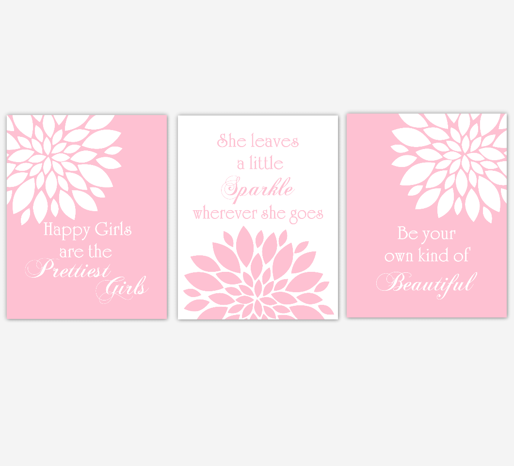 Pink Dahlia Mum Flower Burst Audrey Hepburn Quotes Prettiest Sparkle Beautiful Floral Wall Decor Girl Bedroom Prints Baby Nursery Decor SET OF 3 UNFRAMED PRINTS
