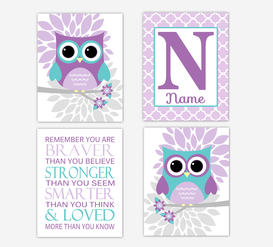 Purple Teal Baby Girl Nursery Art Owls Dahlia Mum Flowers Remember You Are Braver Personalized Print Baby Nursery Decor    SET OF 4 UNFRAMED PRINTS